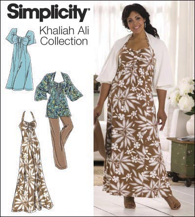 Simplicity 2947 Plus Size & Plus Size Petite Knit Dress, Tunic, Pants and Knit or Woven Shrug Khaliah Ali Collection