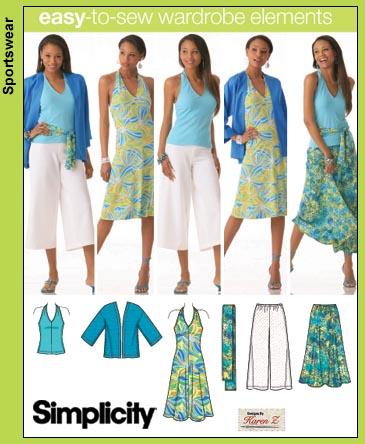 Simplicity Top, Dress, Gauchos, Skirt 4193