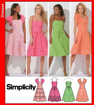Simplicity Dress w/ Tie Belt & Shrug 4224