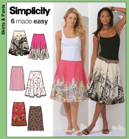 Simplicity Misses' slim full & half skirt 4236