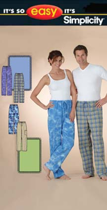 Simplicity Misses' Men's or Teen's Pajama 4429