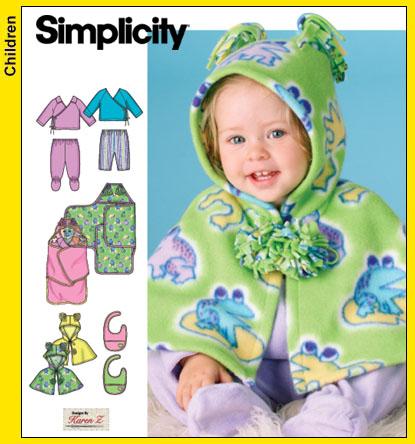 Simplicity Babies Top, Pants, Caplet, Bib 4434
