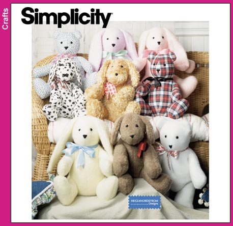 Simplicity 2 pttrn piece bunny, bear, dog 9524