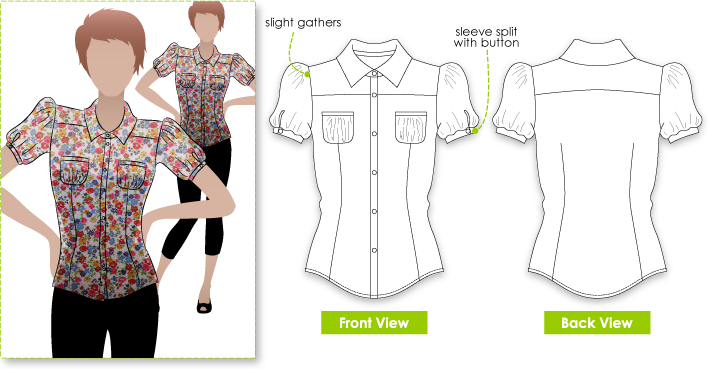Free Sewing Patterns For Ladies Blouses - Peach Chevron Blouse