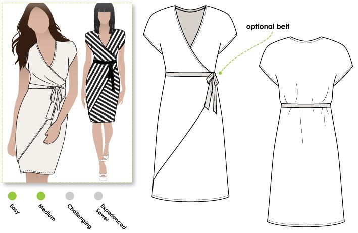 Knitting Pattern Wrap Dress : StyleArc Tia Knit Wrap Dress sewing pattern