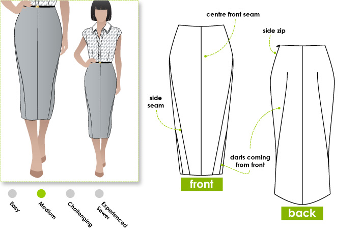 stylearc zoe pencil skirt sewing pattern