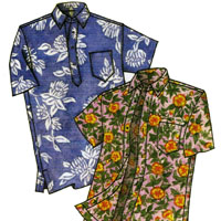Victoria Jones Collection Men's Classic Hawaiian Businessman's Aloha Shirt