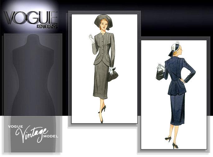 Vogue Patterns MISSES' JACKET AND SKIRT 1019