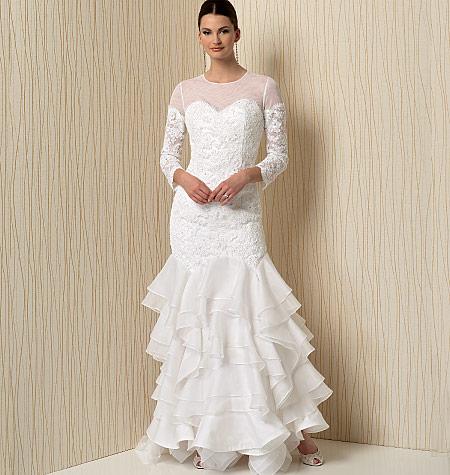 Vogue v1495 evening prom wedding dress sweetheart for Wedding dress patterns 2016