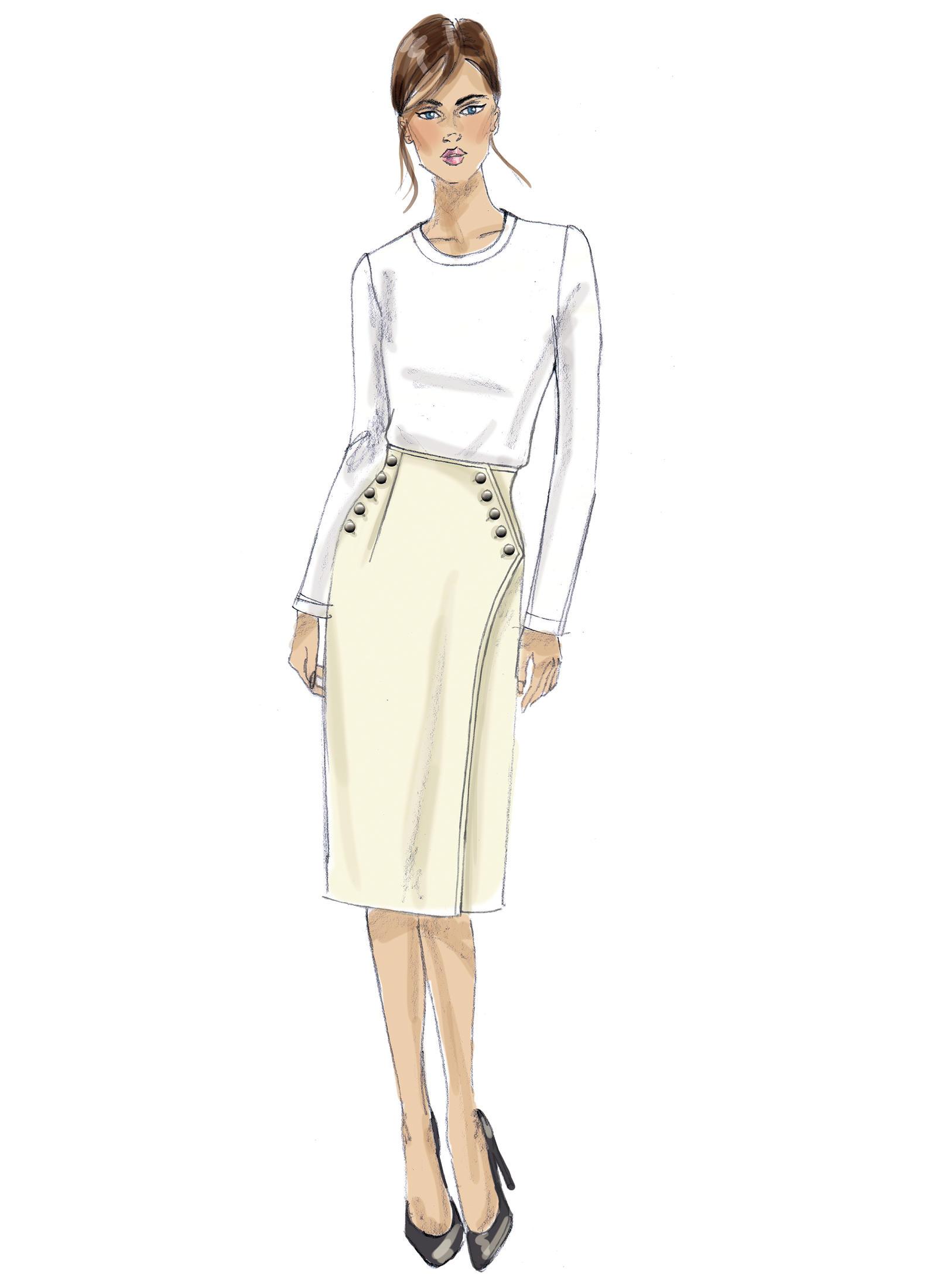 Vogue Patterns 9209- MISSES' BUTTONED WRAP SKIRT