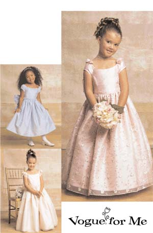 Vogue Patterns Children's / Girls' Lined, Evening Or Lower Calf Length Dress 7681
