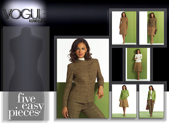 Vogue Patterns MISSES'/MISSES' PETITE JACKET, TOP, DRESS, SKIRT AND PANTS 8343