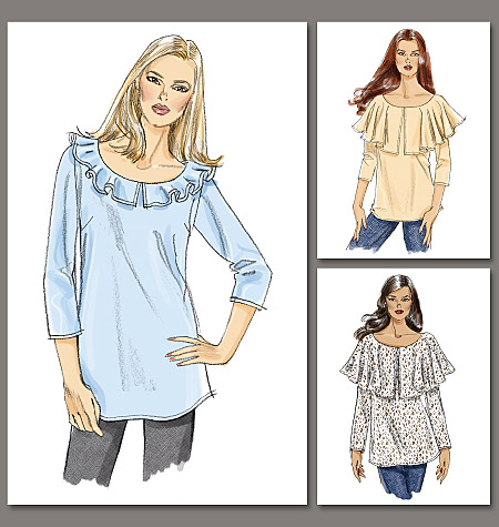 Vogue Patterns A-D Cup Ruffle blouse 8745