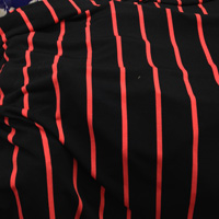 Navy and Coral Vertical Stripe ITY Knit 2 Yards