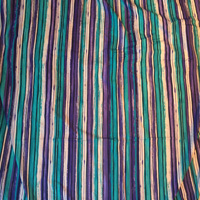 Teal Purple and Black Vertical Stripe Nylon Knit 2 Yards
