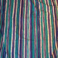 Teal Purple and Black Vertical Stripe Nylon Knit 2 Yards