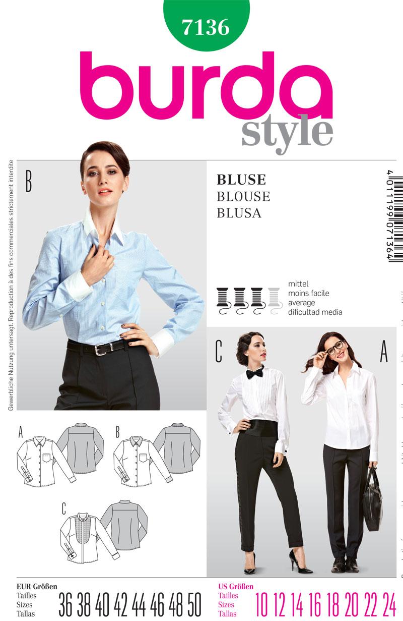 Burda 7136 misses blouse prevnext jeuxipadfo Choice Image
