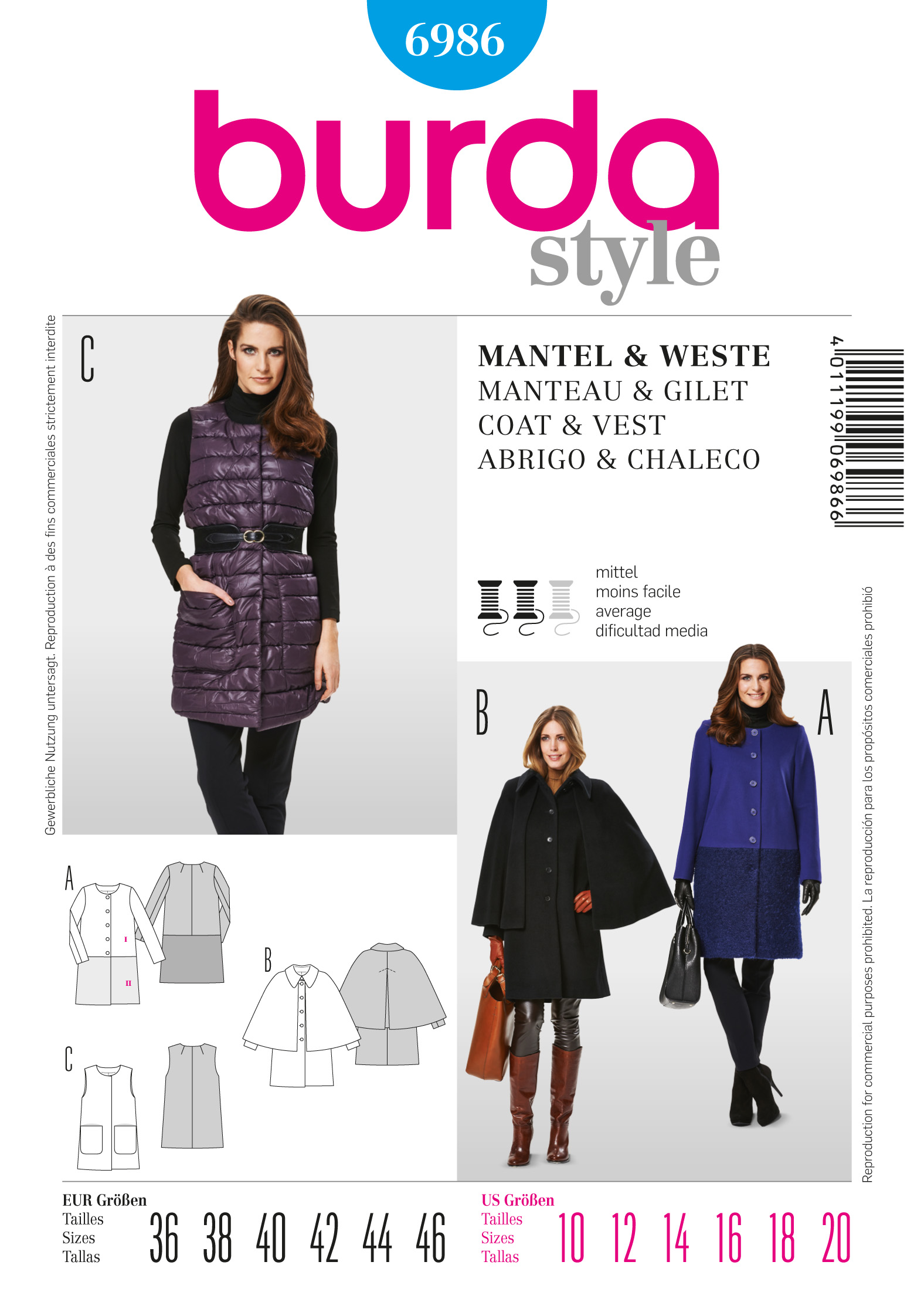 Burda 6986 Coat / Vest