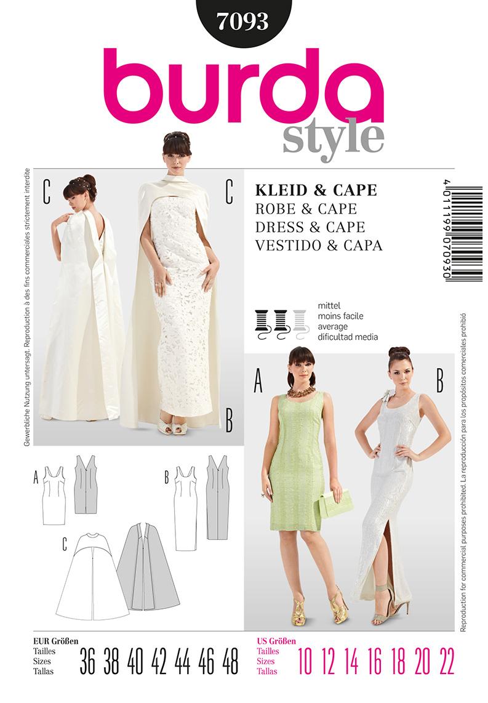 Burda 7093 Misses Formal Dress And Cape