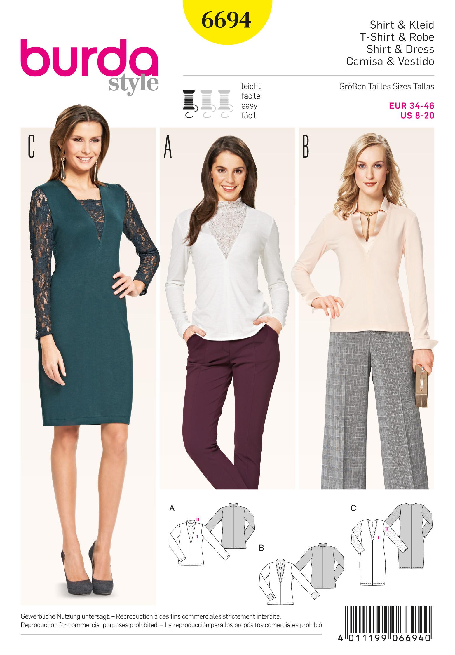 Burda Ladies Easy Sewing Pattern 6525 Blouse Tops Christmas Ornament
