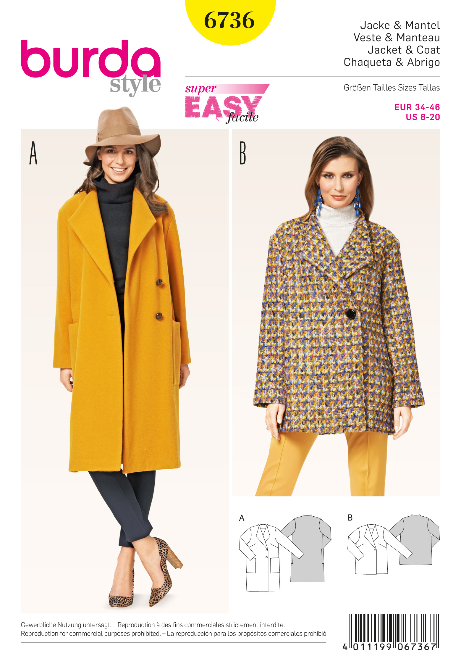 Burda 6736 misses jackets and coats prevnext bankloansurffo Images
