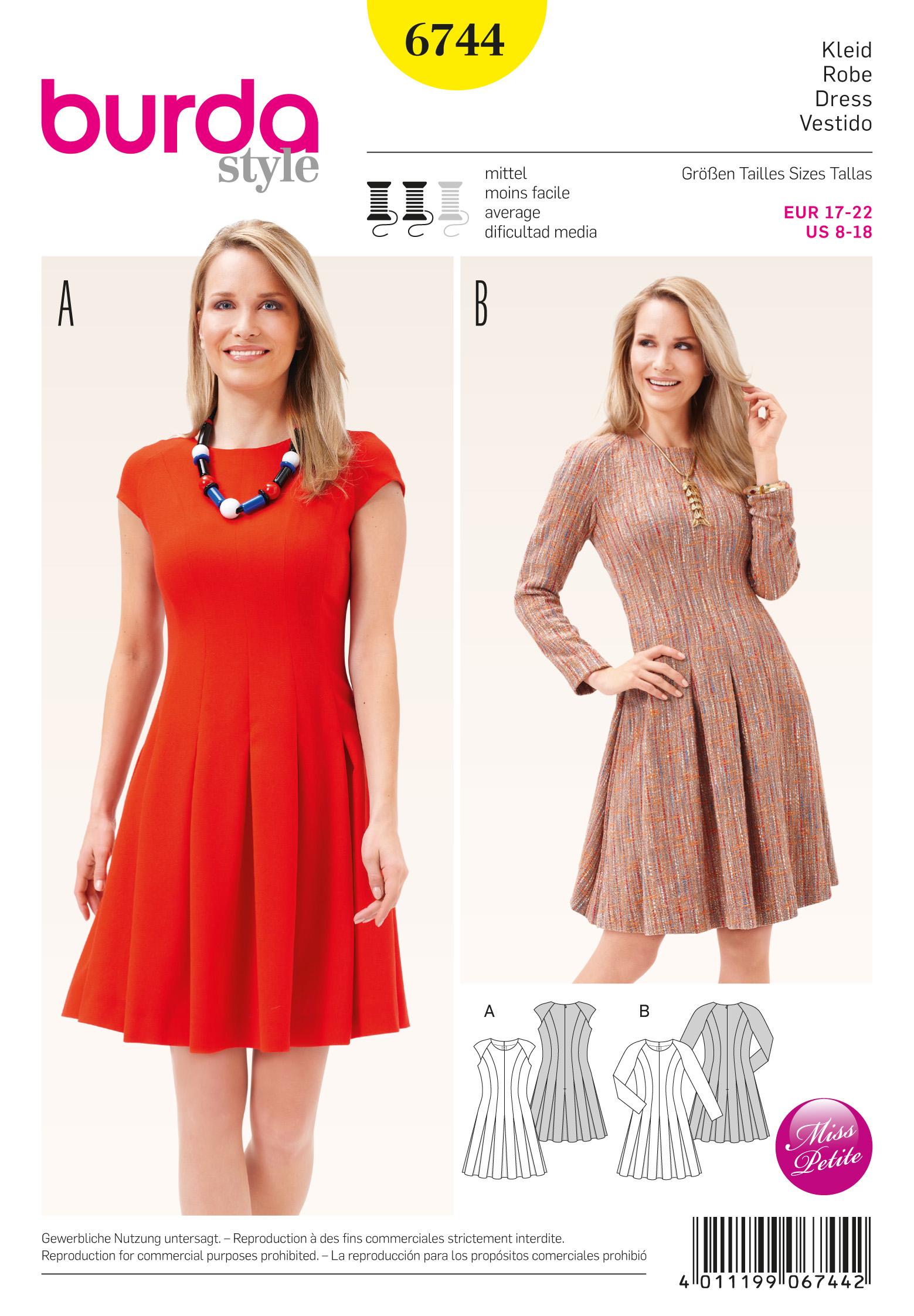 Burda 6744 Misses Dress With Swingy Skirt