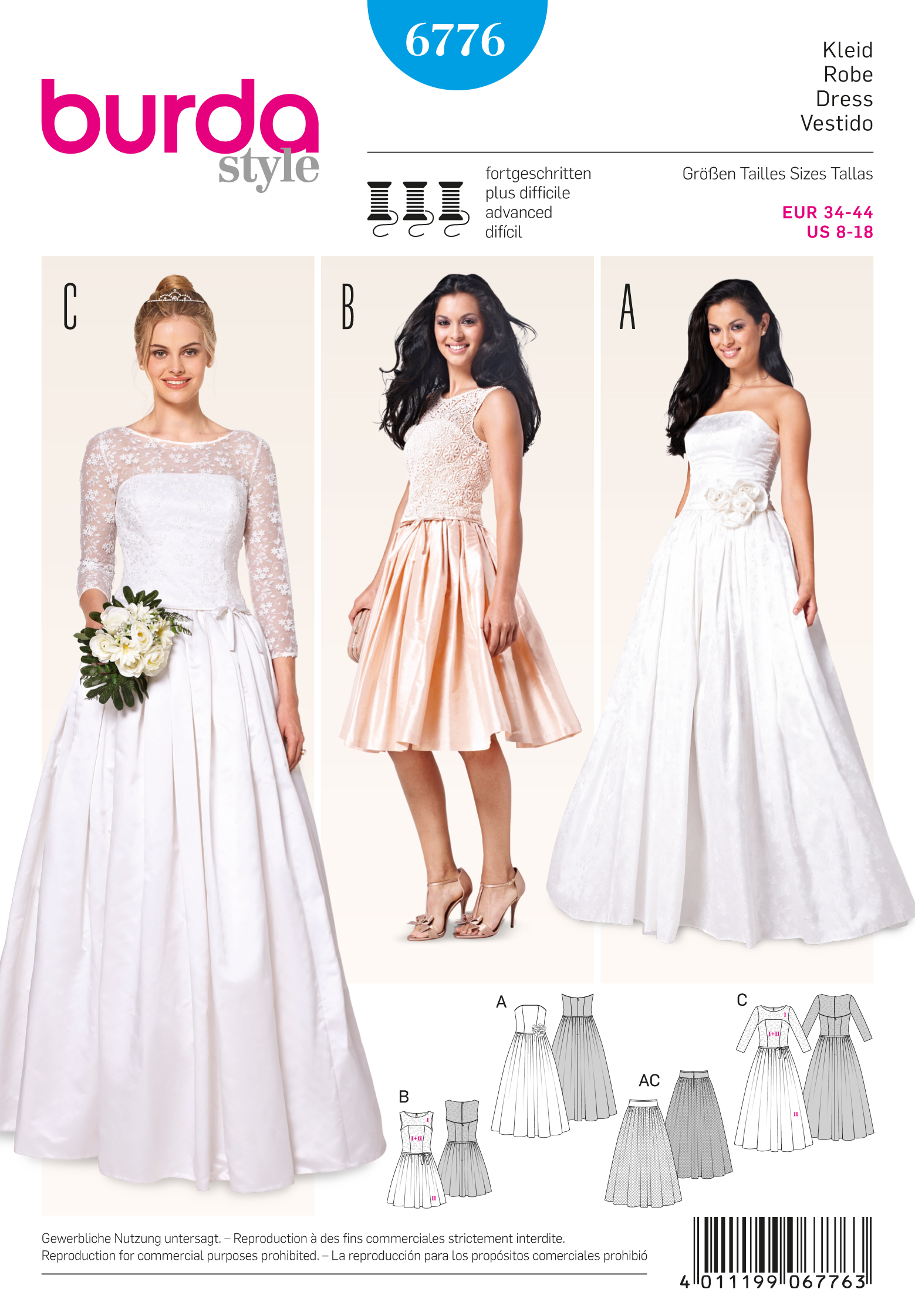 Burda 6776 burda style evening bridal wear for Lace wedding dress patterns to sew