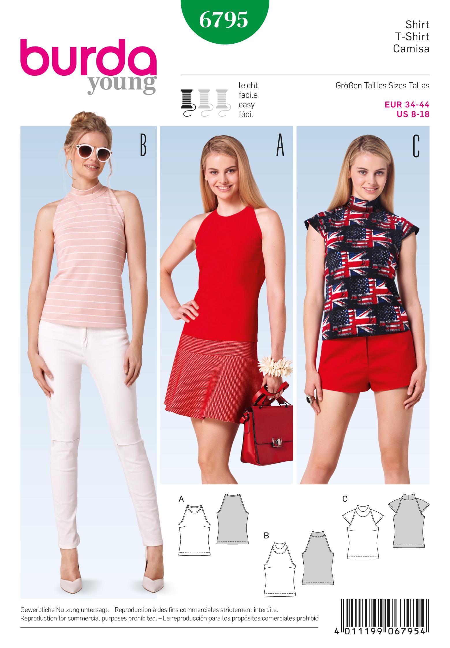 Burda 6795 Burda Style Tops, Shirts, Blouses