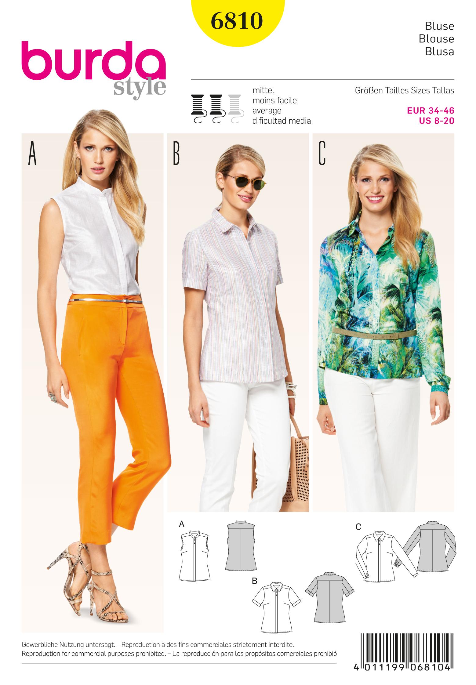 Burda 6810 Burda Style Tops Shirts Blouses