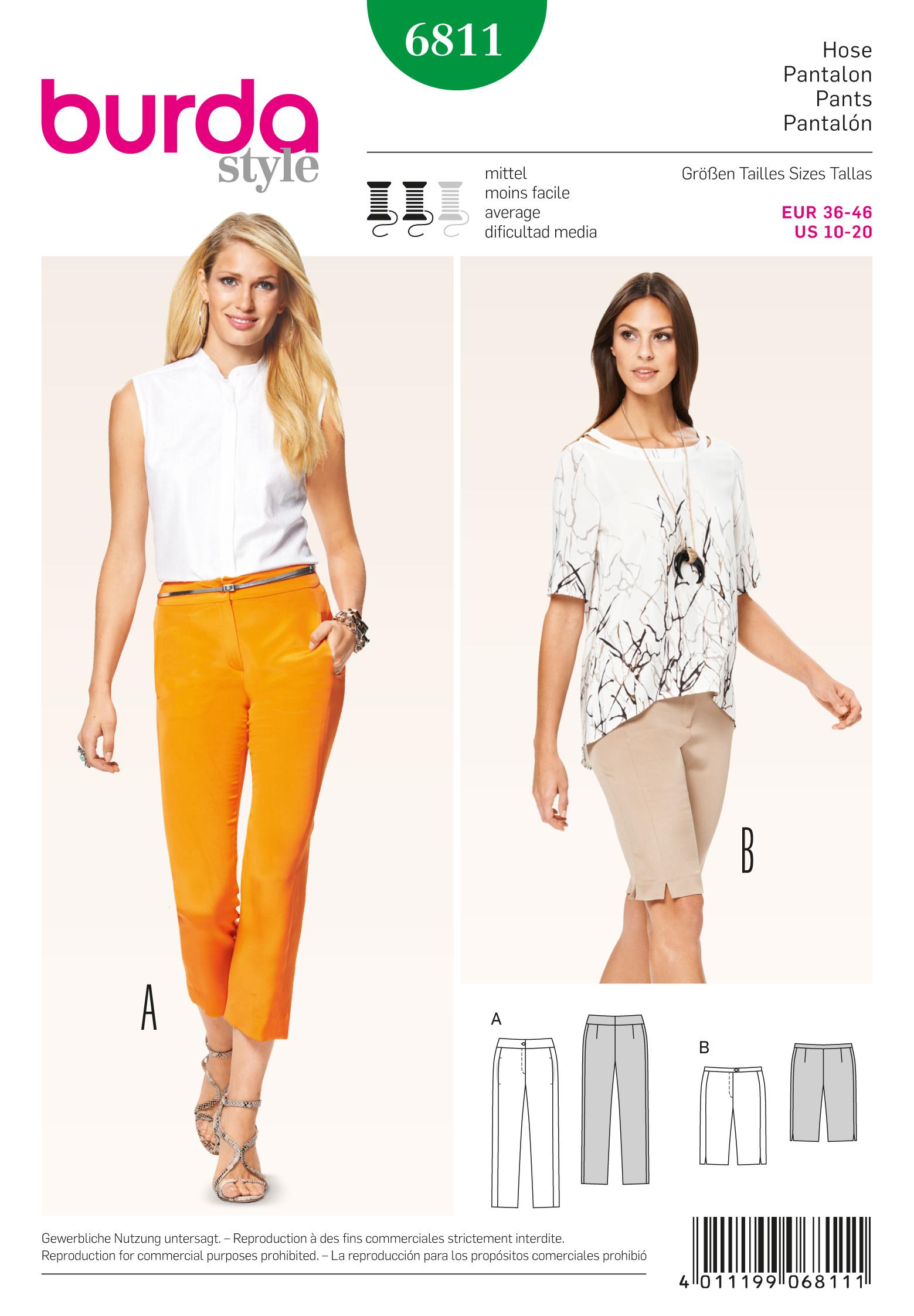 Burda 6811 Burda Style Pants, Jumpsuits