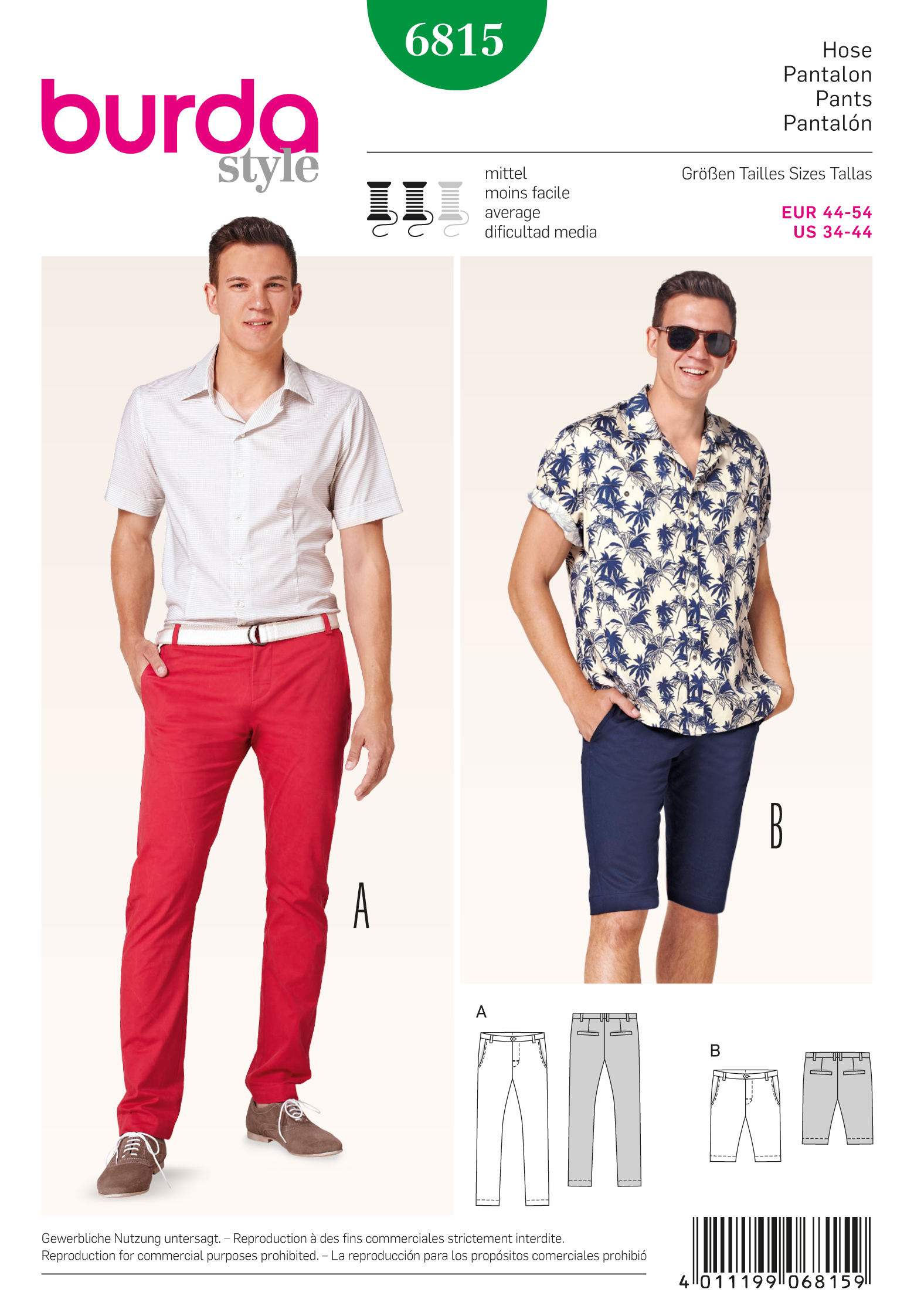 Burda 6815 Burda Style Menswear, Sportswear