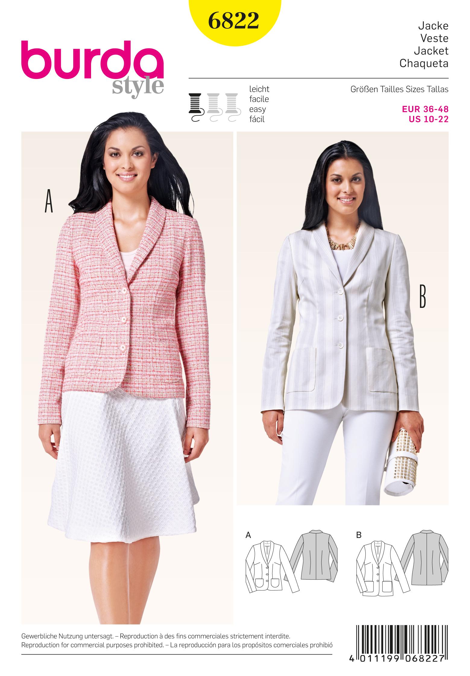 Burda 6822 burda style jackets coats vests prevnext jeuxipadfo Gallery