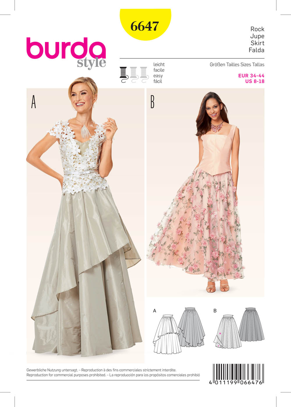 Burda 6647 Misses' Skirt