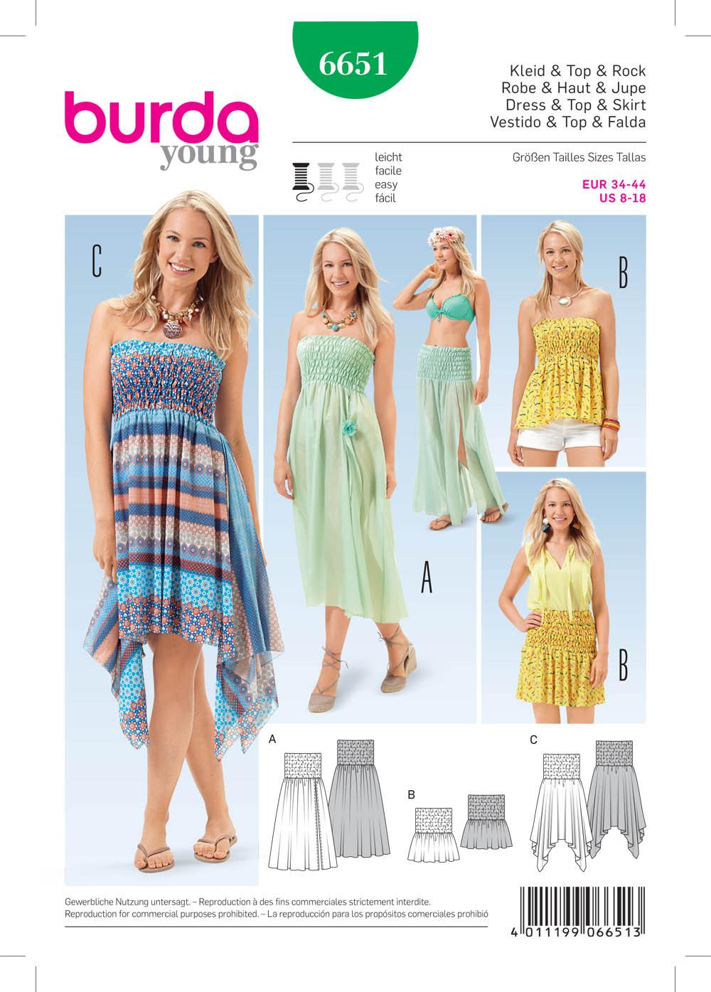 Burda 6651 Misses Dress Top And Skirt