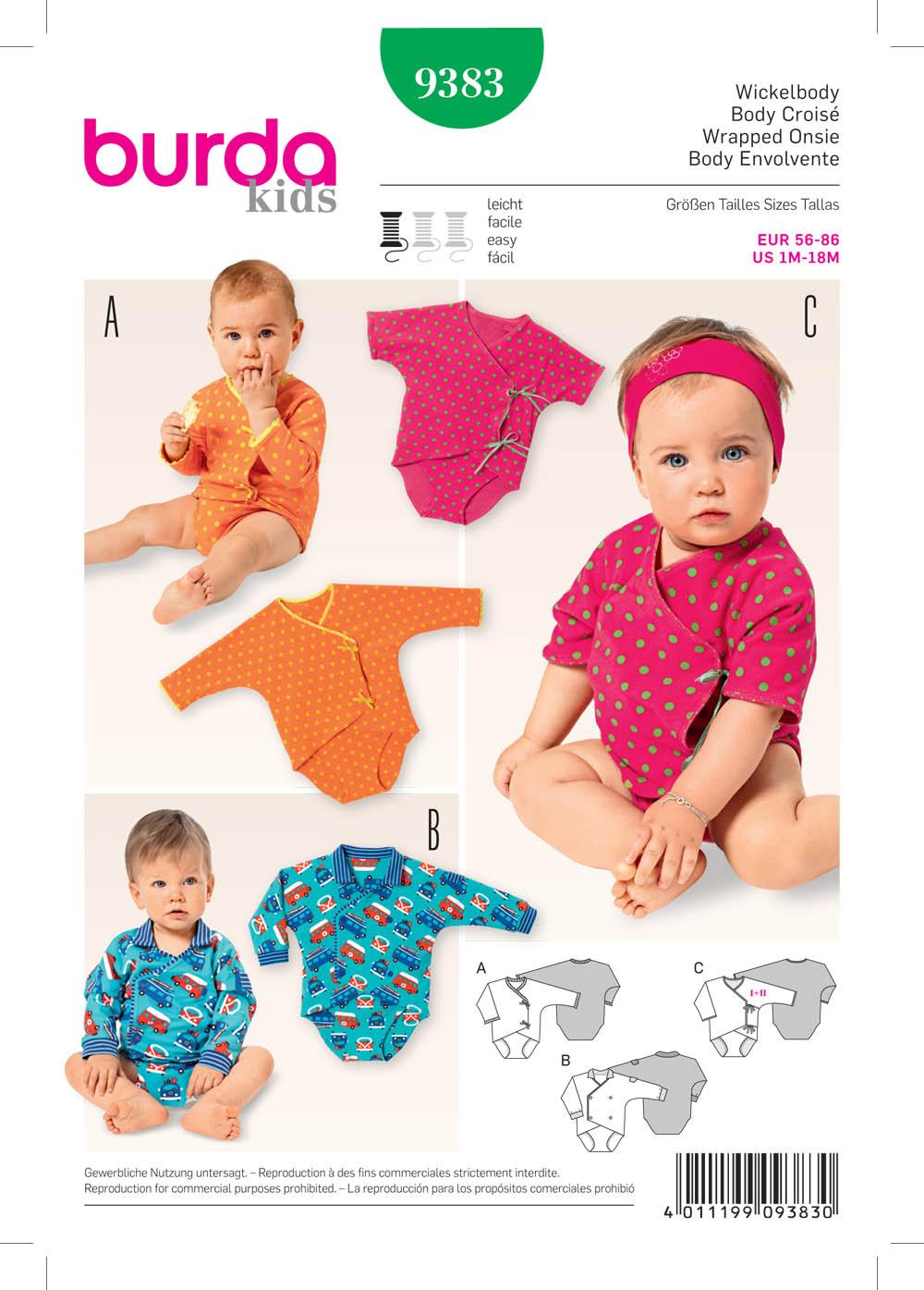 Burda 9383 Babies Wrap Dress And Blouse