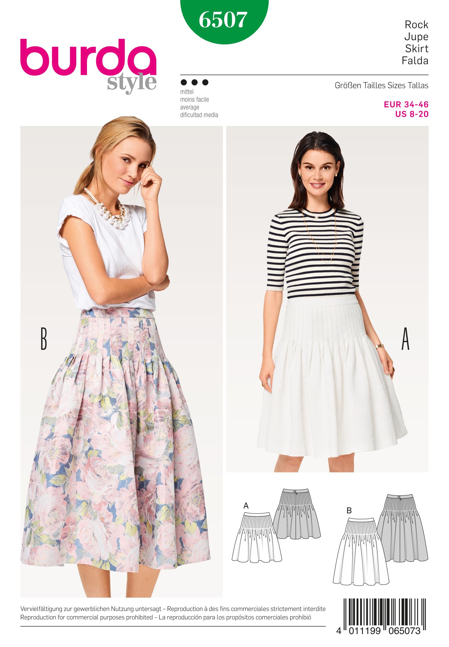 fc8fcac69d Burda 6507 Misses' Pleated Skirt