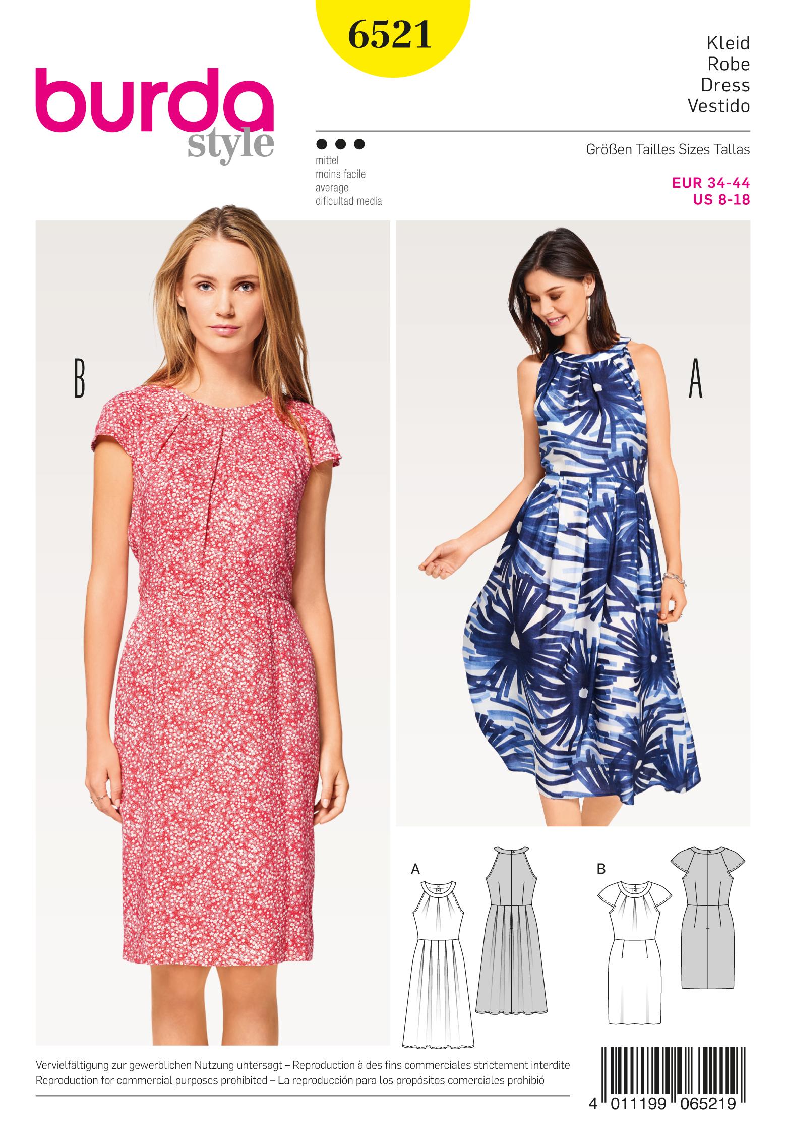 Burda 6521 Misses 39 Dress With Sleeves