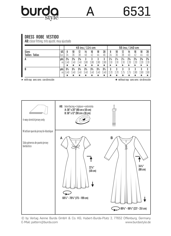 Burda-6531 Burda Ladies Easy Sewing Pattern 6531 Jersey Knit Dresses
