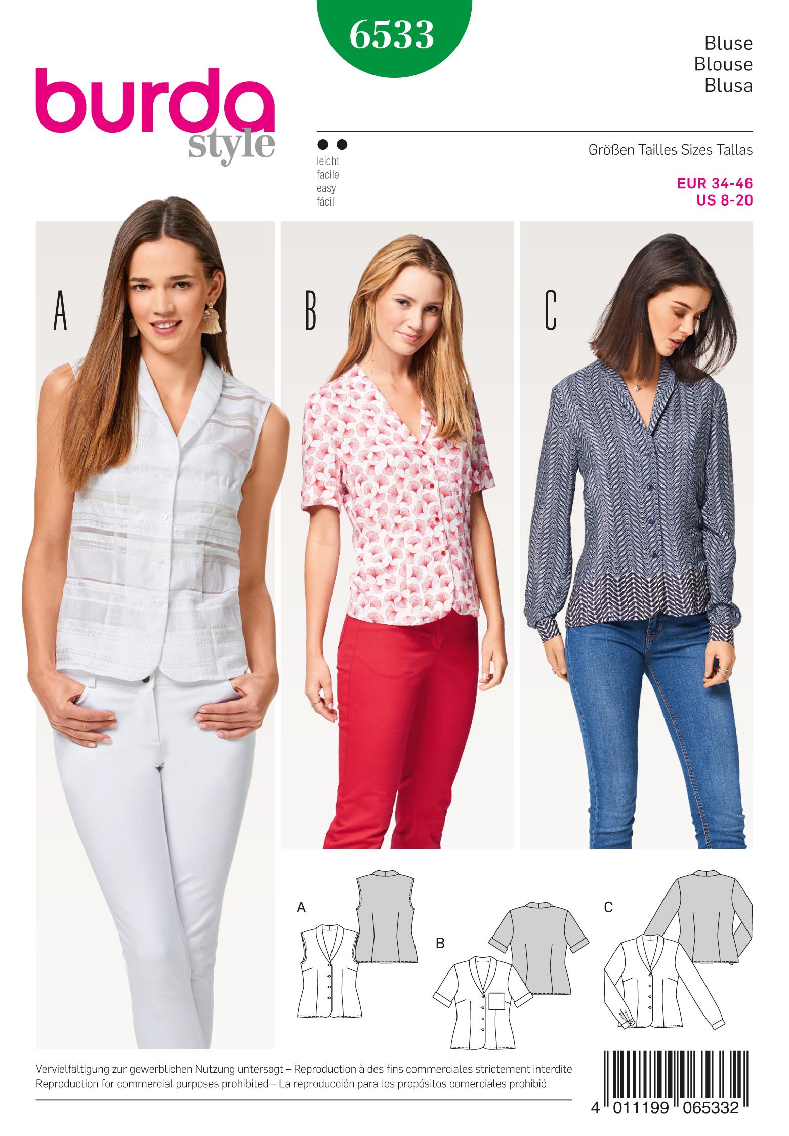Burda 6533 misses blouse prevnext jeuxipadfo Image collections