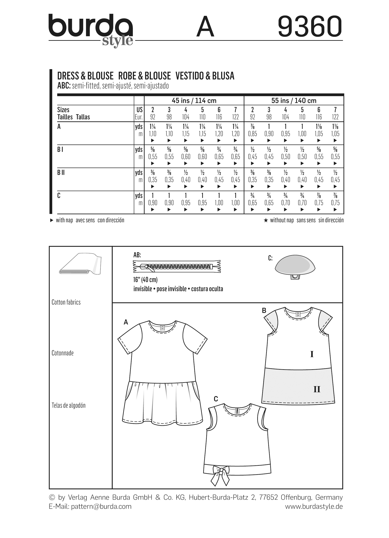 Burda 9360 Child Dress Blouse and Skirt – Sewing Worksheets