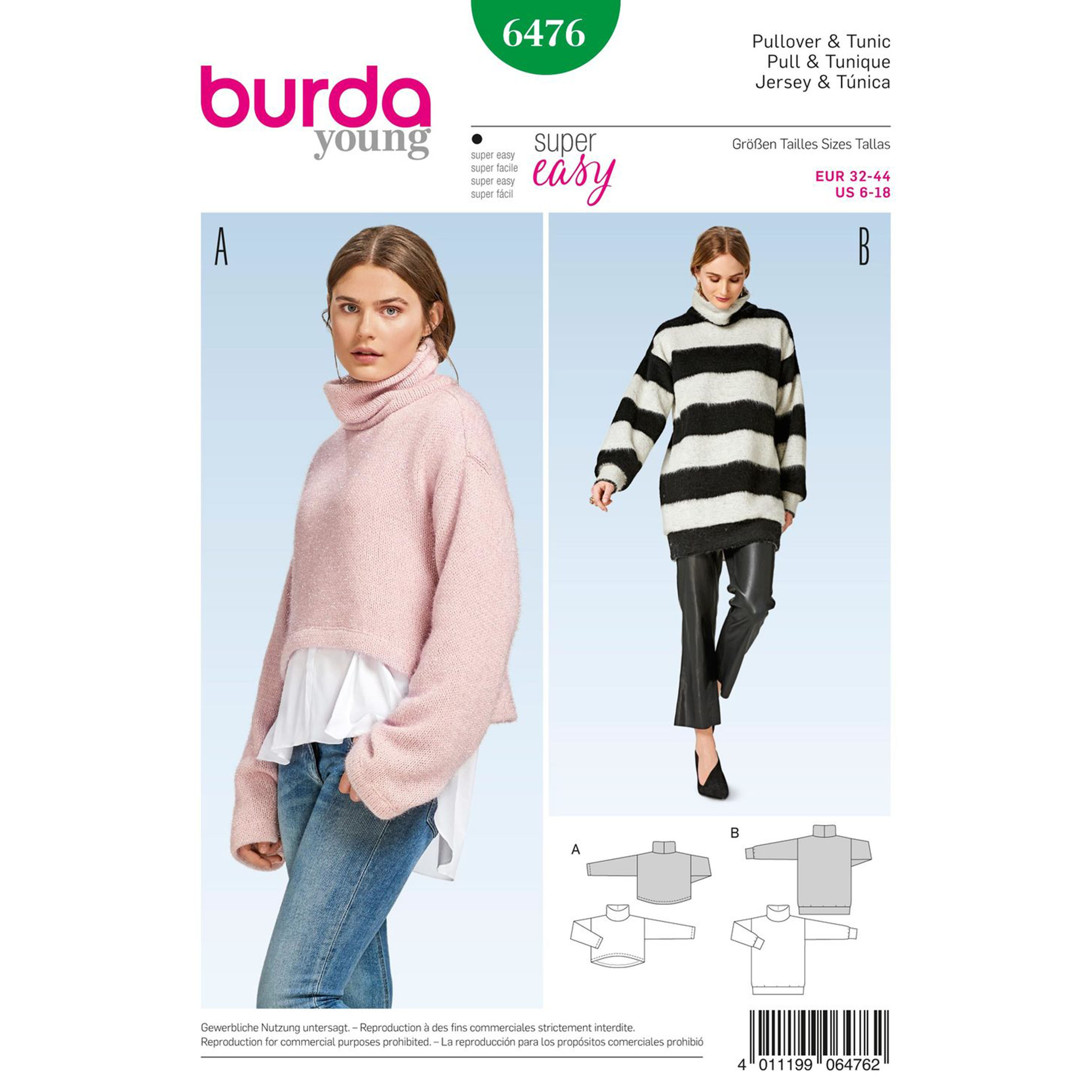 Burda burda style pattern b6476 misses pullover collared top prevnext bankloansurffo Images