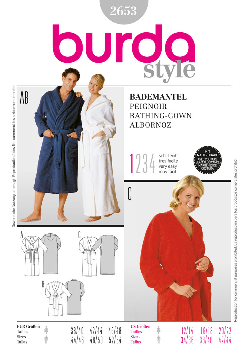 Burda 2653 bathrobe prevnext jeuxipadfo Gallery