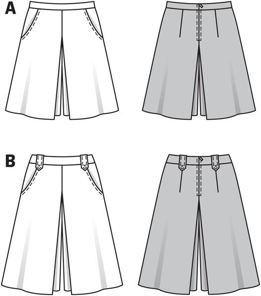 Burda Ladies Sewing Pattern 6905 Box Pleat Pant Skirt in 2 Lengths Burda-6905