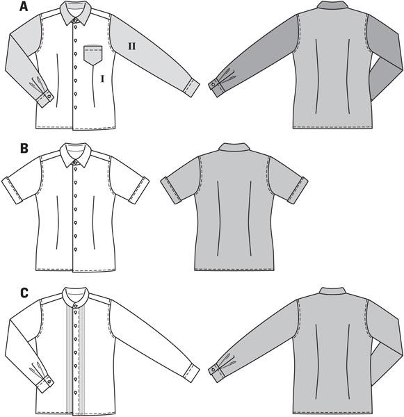 Burda-6931 Burda Mens Sewing Pattern 6931 Long /& Short Sleeve Shirts