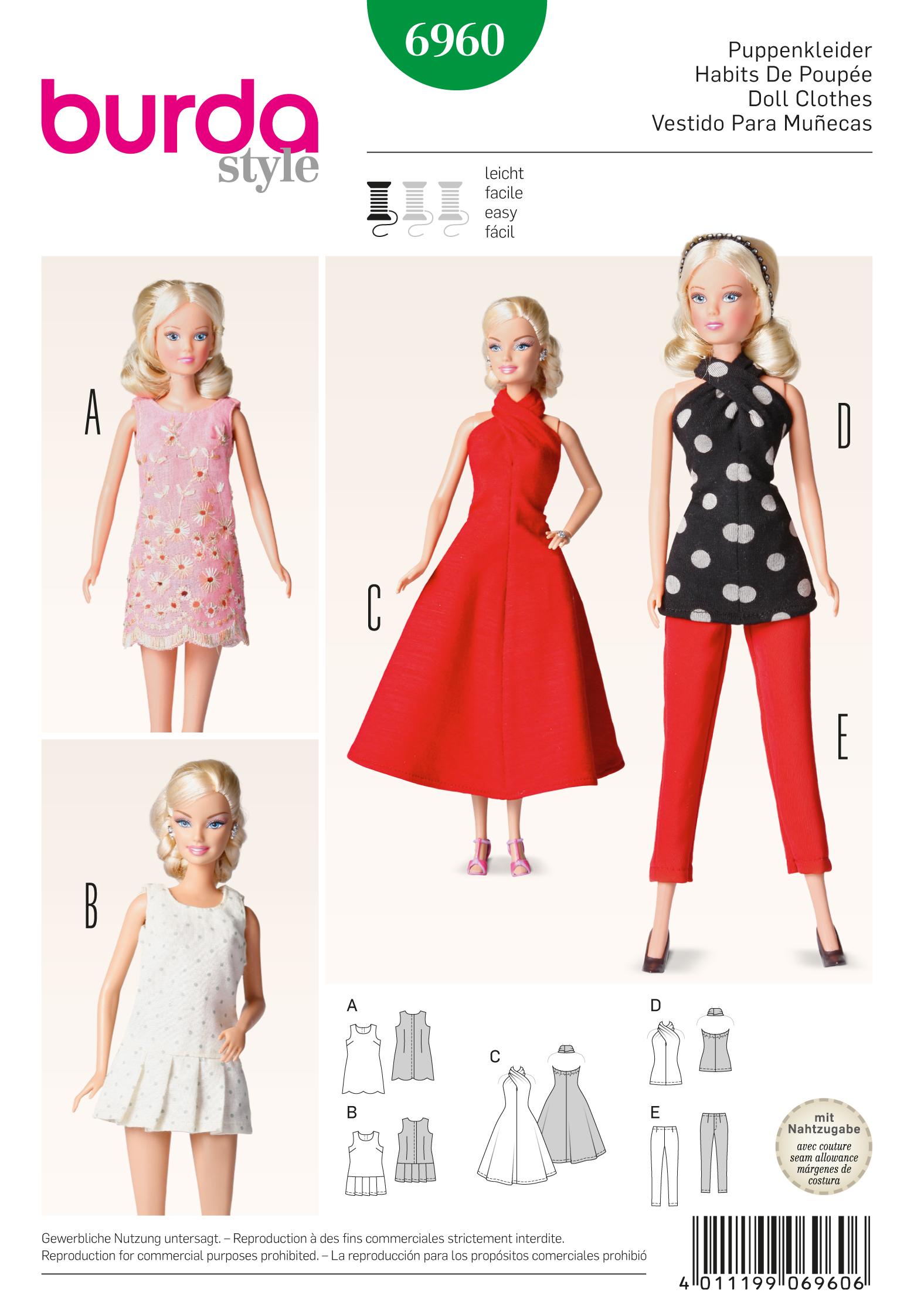 Burda 6960 doll clothes accessoires for Accessoires maison barbie