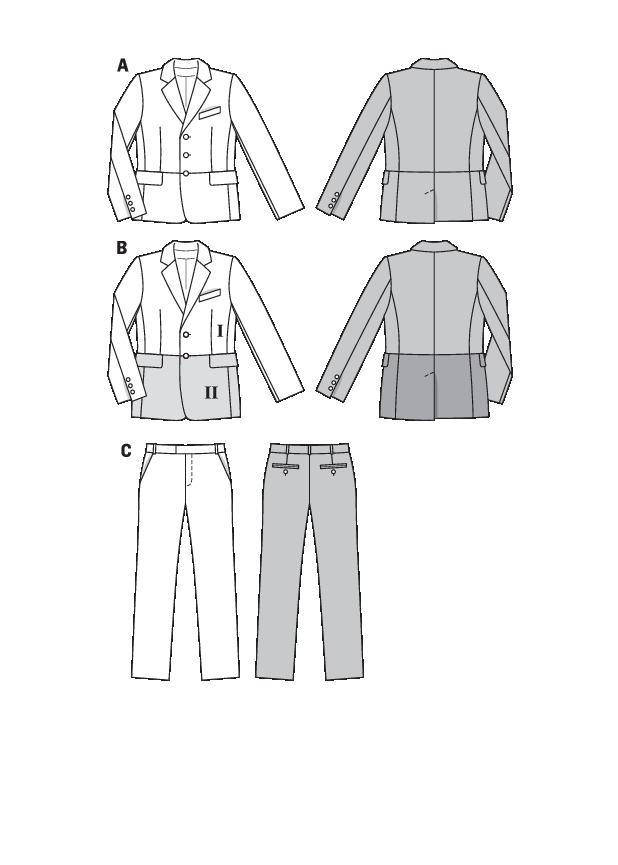 V8890 Mens Suit Jackets Shorts And Pants Sewing Pattern Vogue