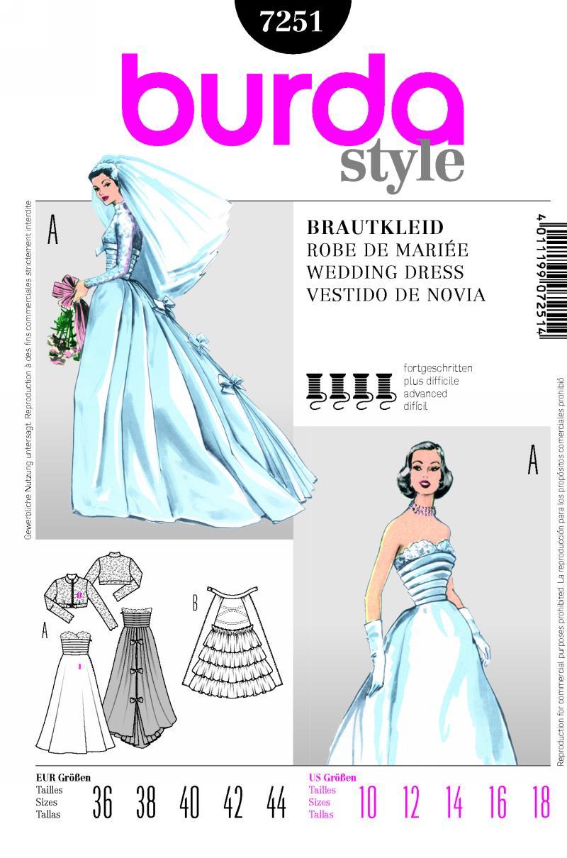 Burda 7251 Wedding Dress