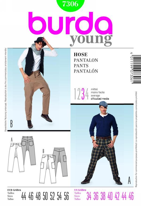 Burda 7306 men's pants