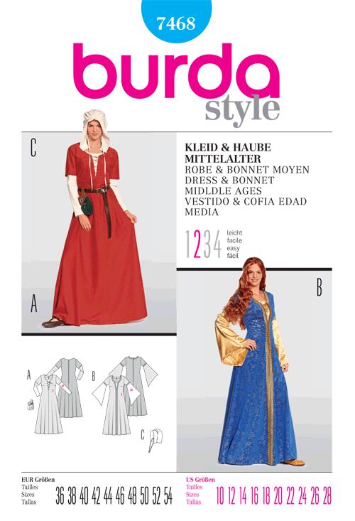 Burda 7468 Misses Middle Age Dress & Bonnet Costume
