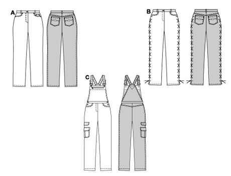 Burda 8408 Trousers/pants and bibbed trousers/pants (dungarees)